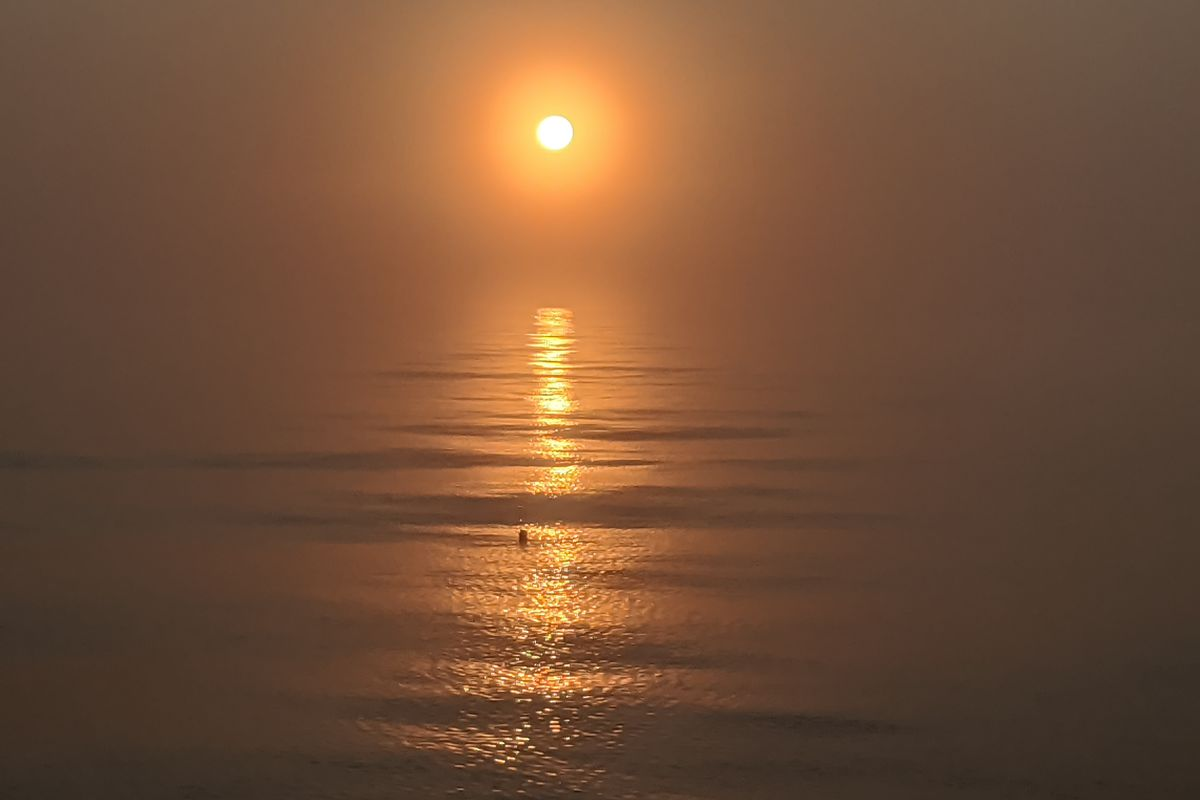 Dawn through the fog over Lake Michigan Wednesday while coho fishing on the South Side. Credit: Dale Bowman