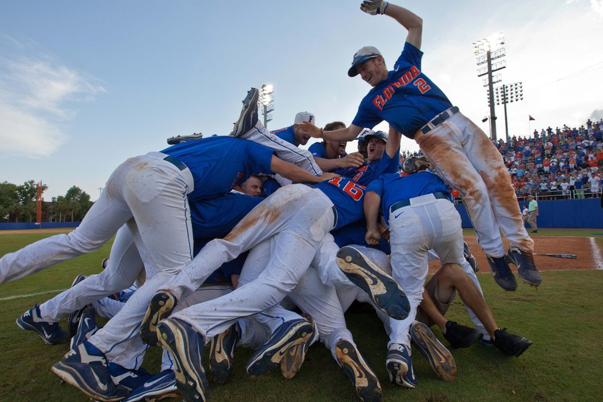 June 10, 2012; Gainesville, FL, USA; Florida Gators celebrate after winning the Gainesville super regional at McKethan Stadium and advancing on to the College World Series.  Mandatory Credit: Rob Foldy-US PRESSWIRE
