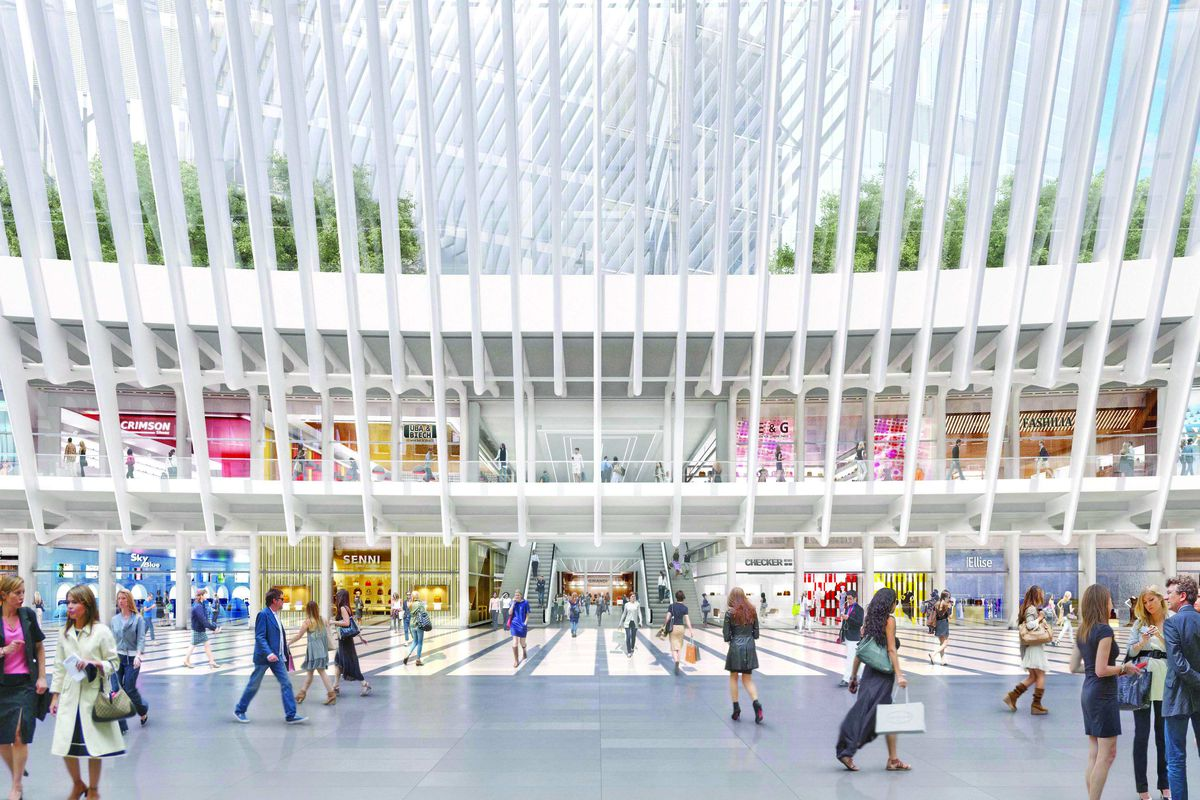 A rendering of the completed World Trade Center stores