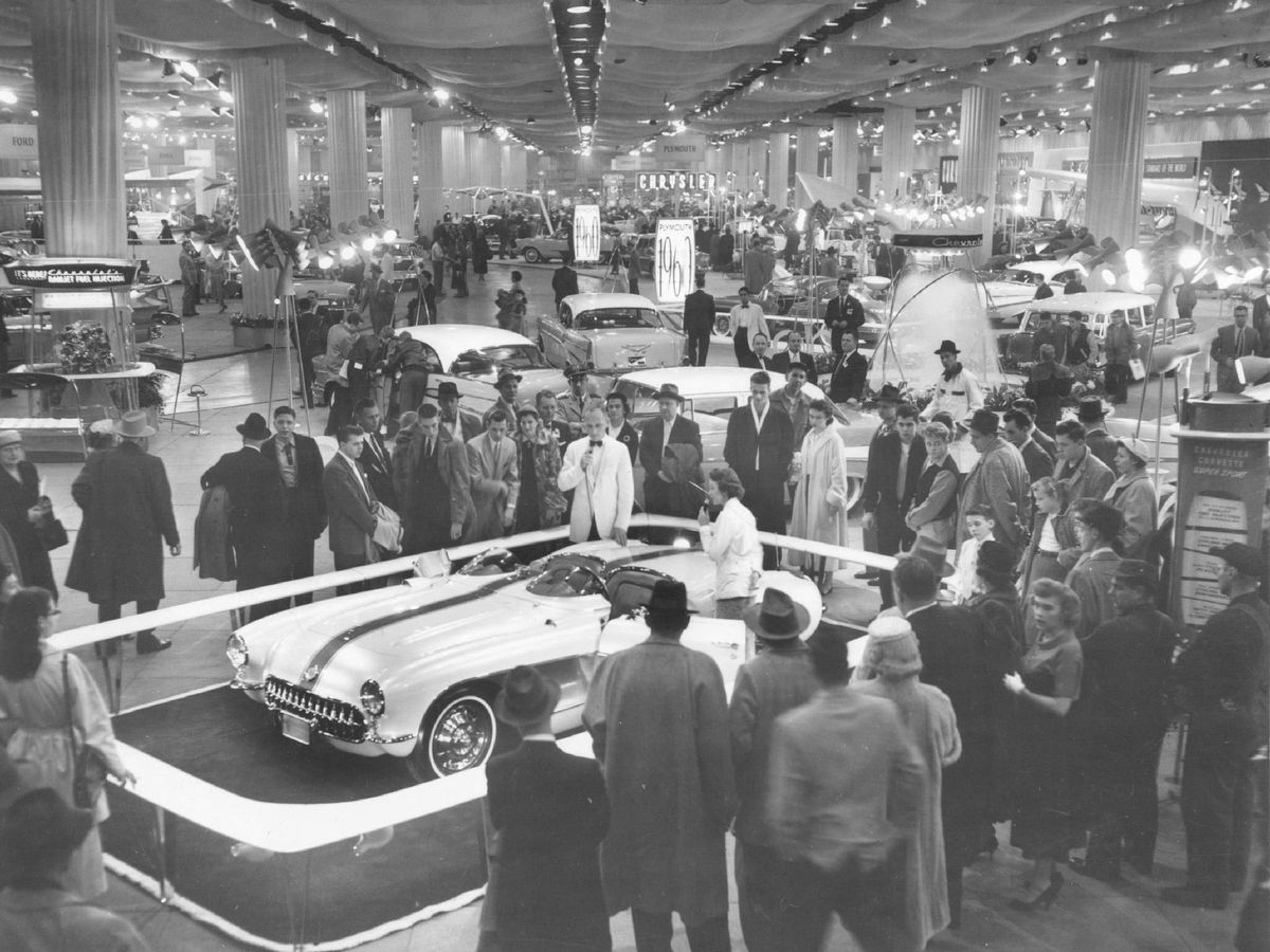 The 1957 Chicago Auto Show was held at the International Amphitheatre.   Sun-Times photo
