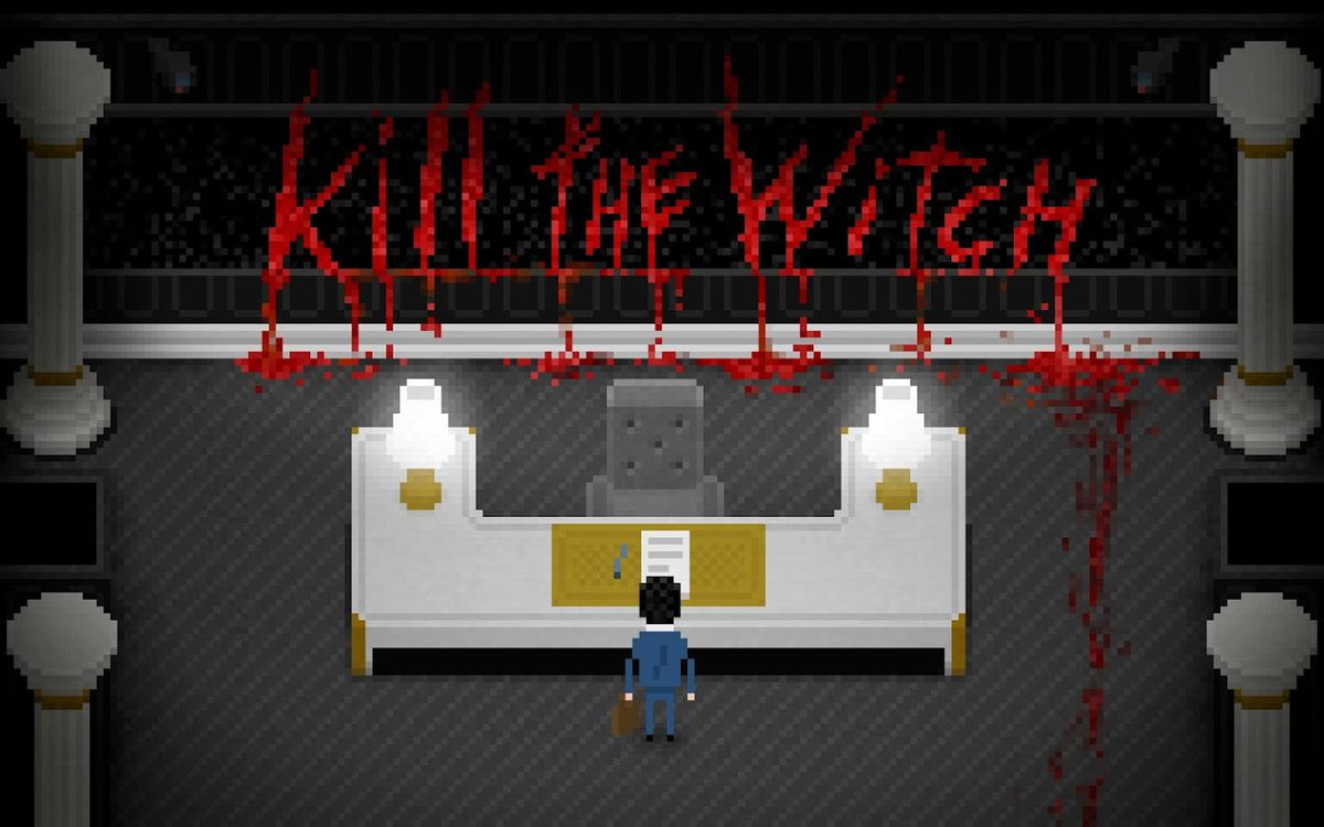 """A man stares at a sign written in blood that says, """"Kill the witch."""""""