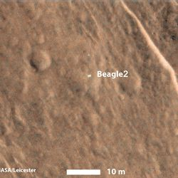 The bright spot suggests that the Beagle 2's solar arrays were at least partially deployed on the surface of Mars.