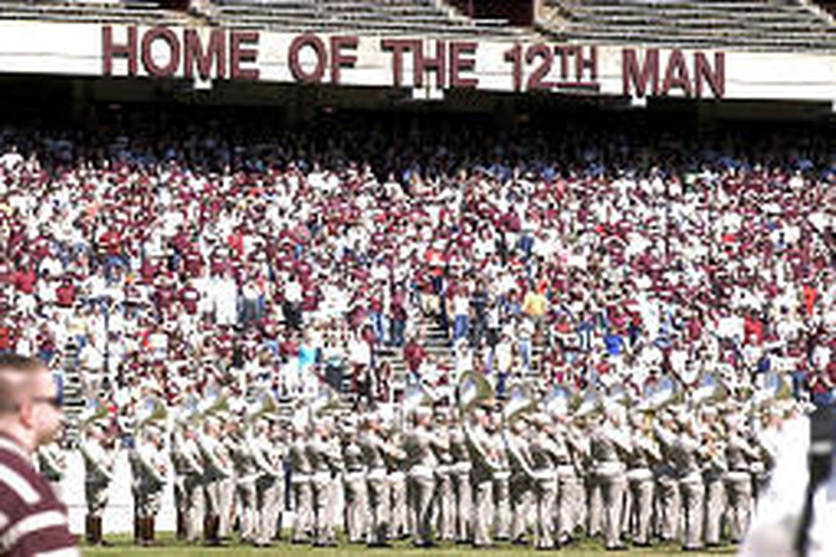 Texas A\\\\&M fans fill the first tier of stands during the Maroon and White scrimmage last spring at College Station, Texas.