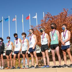 The 5A boys state cross-country championships are held at Soldier Hollow in Midway on Thursday, Oct. 22, 2020.