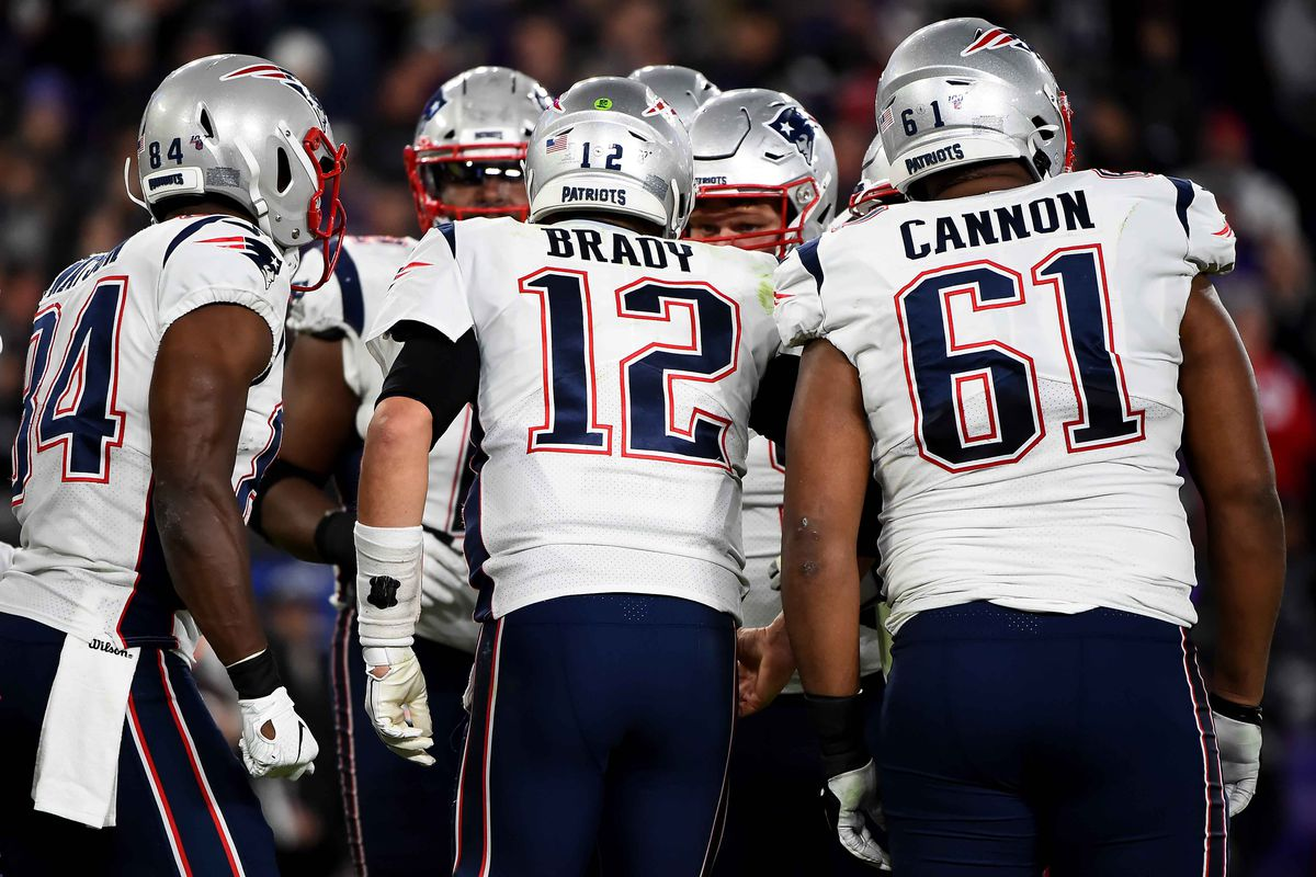 Tom Brady of the New England Patriots calls a play to his teammates during the game against the Baltimore Ravens at M&T Bank Stadium on November 3, 2019 in Baltimore, Maryland.