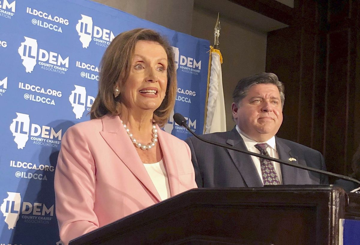 U.S. House Speaker Nancy Pelosi and Illinois Gov. J.B. Pritzker on Wednesday at the Illinois State Fair in Springfield.