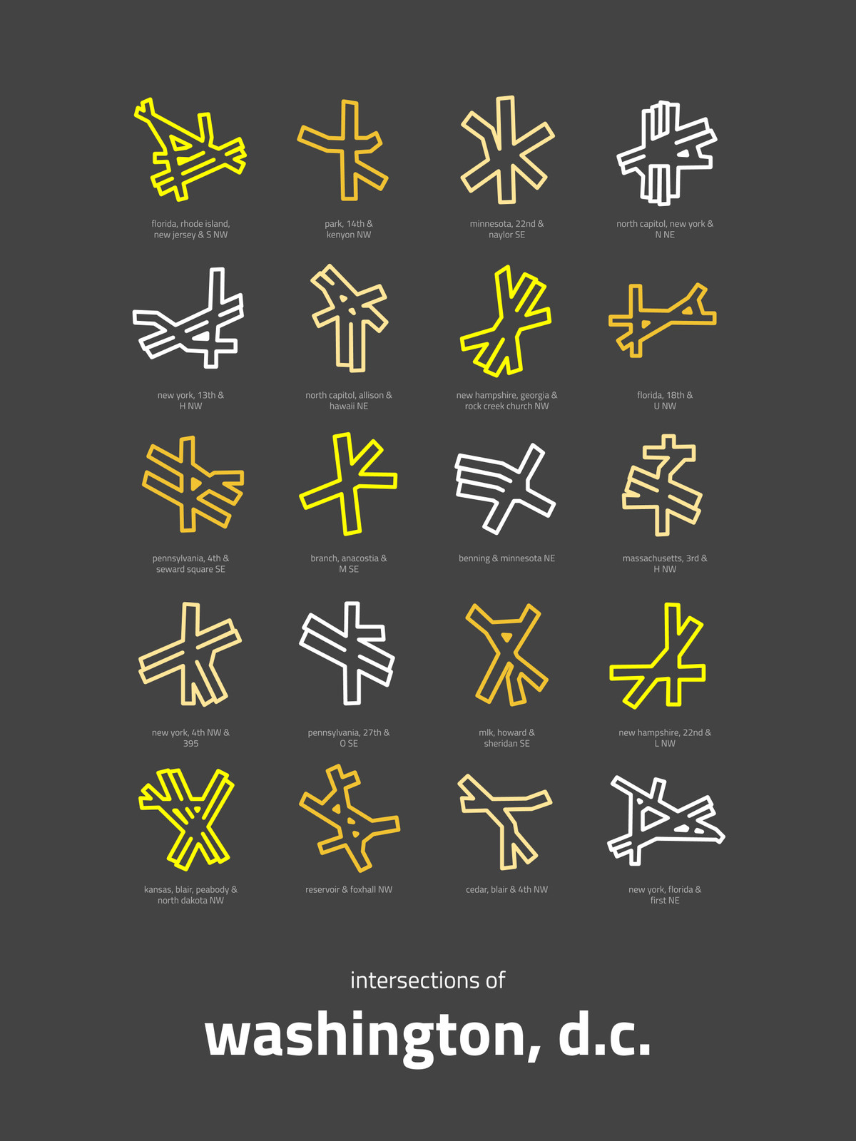 """Eight D.C. intersections on a graphic print called """"Intersections of DC."""" The print has a black background and the intersections are yellow, orange, and white."""