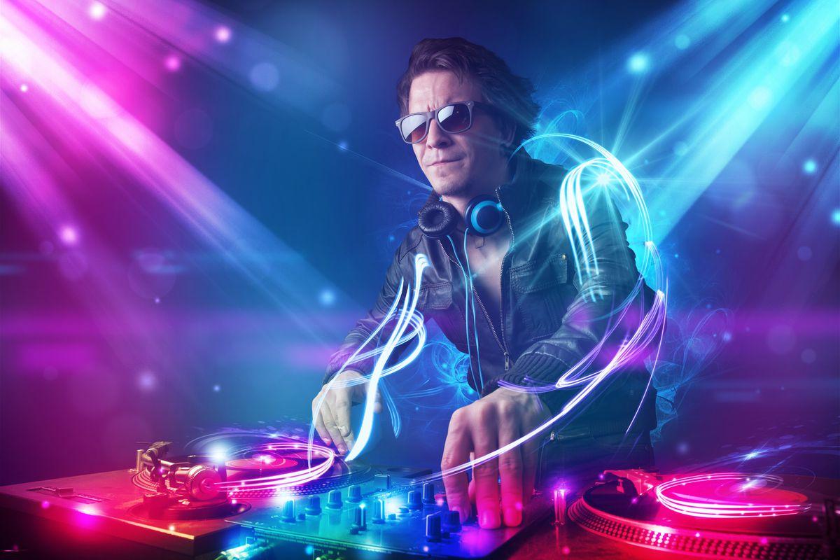 A DJ mixing music.