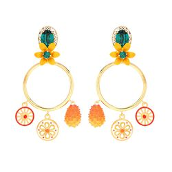 Always true to their dramatic Italian identity, Dolce & Gabbana isn't making earrings for a wallflower. (Is that a kumquat?)