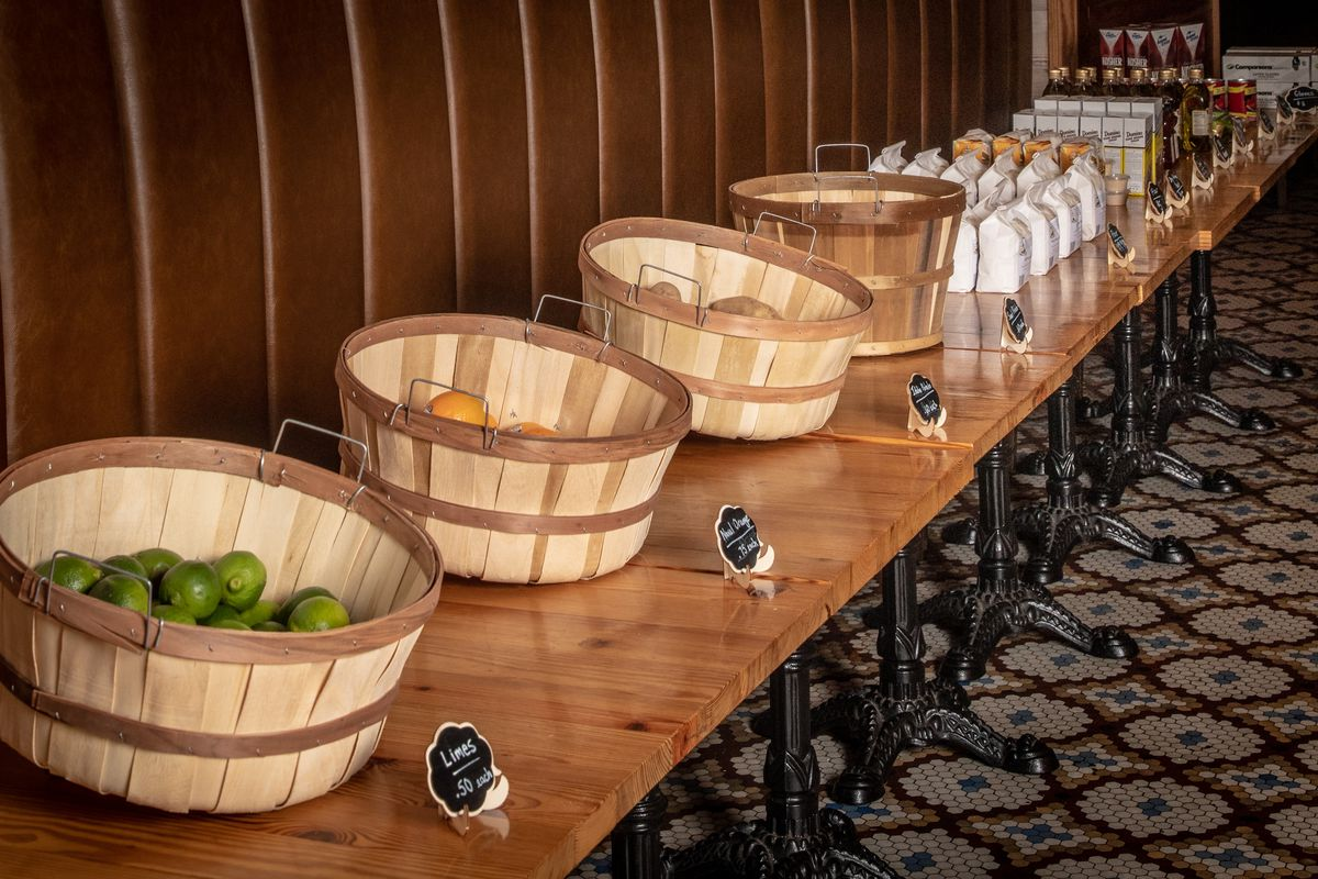 Baskets of fruits and vegetables line the store at Meadowsweet
