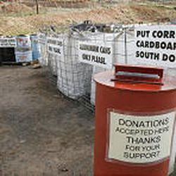 The sorting area of the recycling center. Items that cannot be recycled at the Moab center are sometimes taken to a bigger city.