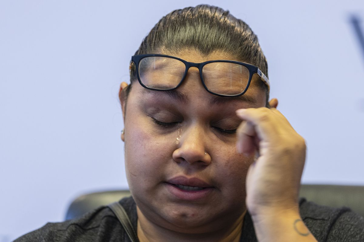 Mariana Ochoa, mother of 7-year-old Victor Lobato Ochoa, wipes away tears as she speaks about her son during a press conference to announce the filing of a lawsuit against Material Services Corporation at Wise Morrissey LLC at 161 N. Clark St in the Loop, Thursday, July 1, 2021. 7-year-old Victor Lobato Ochoa drowned on the Chicago river after a wake capsized the boat he was in. | Anthony Vazquez/Sun-Times
