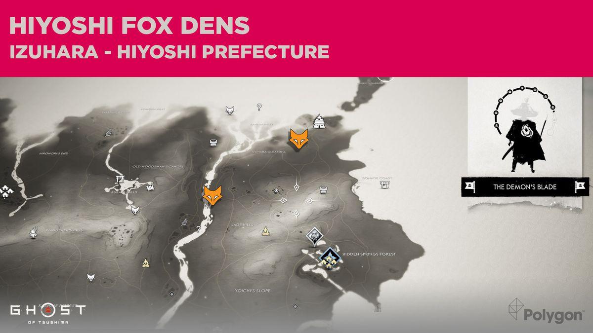 Fox Den locations in Hiyoshi in Ghost of Tsushima