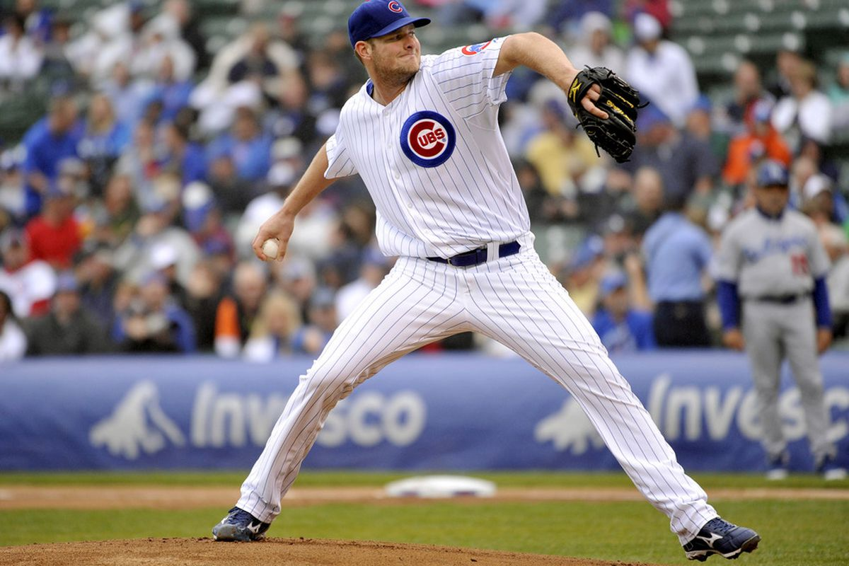 Starting pitcher Chris Volstad of the Chicago Cubs delivers against the Los Angeles Dodgers at Wrigley Field in Chicago, Illinois.  (Photo by Brian Kersey/Getty Images)