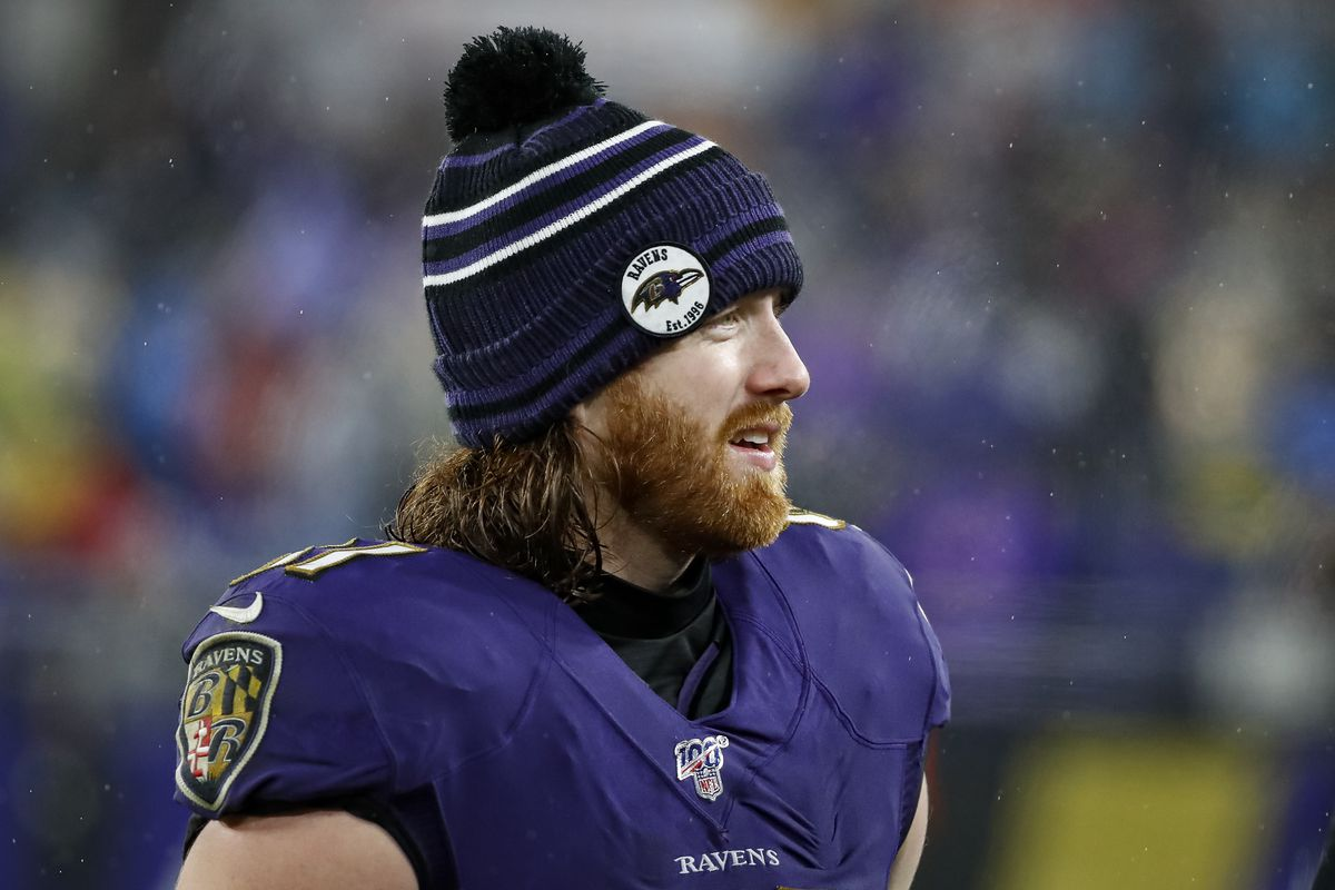 Hayden Hurst #81 of the Baltimore Ravens looks on during the second half of the game against the Pittsburgh Steelers at M&T Bank Stadium on December 29, 2019 in Baltimore, Maryland.
