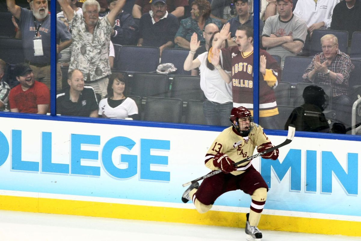 Boston College junior forward Johnny Gaudreau and his teammates will look to avenge Thursday's loss at Michigan when they face RPI Sunday.