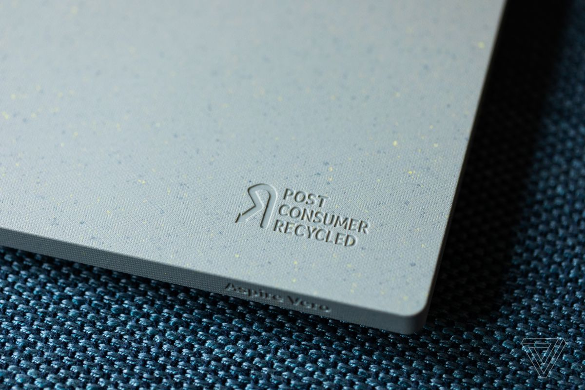 The Post Consumer Recycled engraving on the right palm rest of the Acer Aspire Vero.