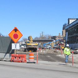 View of a new excavation from the Clark Street gate opening -