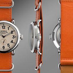 "Shinola The Runway orange leather watch, $575 at <a href=""http://www.shinola.com/shop/watches/womens-watches/therunwell47-leather-band-watch-s032.html"">Shinola</a>."