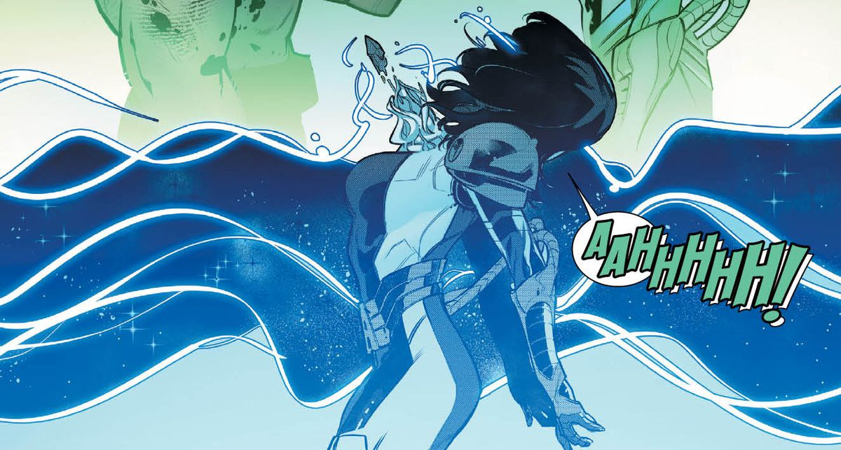 Moira X reacts violently, screaming, as a crystal force-feeds a large amount of information into her mind in Powers of X #3, Marvel Comics (2019).