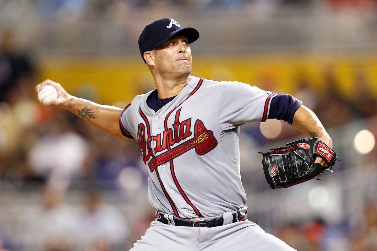 Tim Hudson was nails tonight against the Fish, retiring the last 16 batters he faced. (I feel like he makes this face in all his pictures)