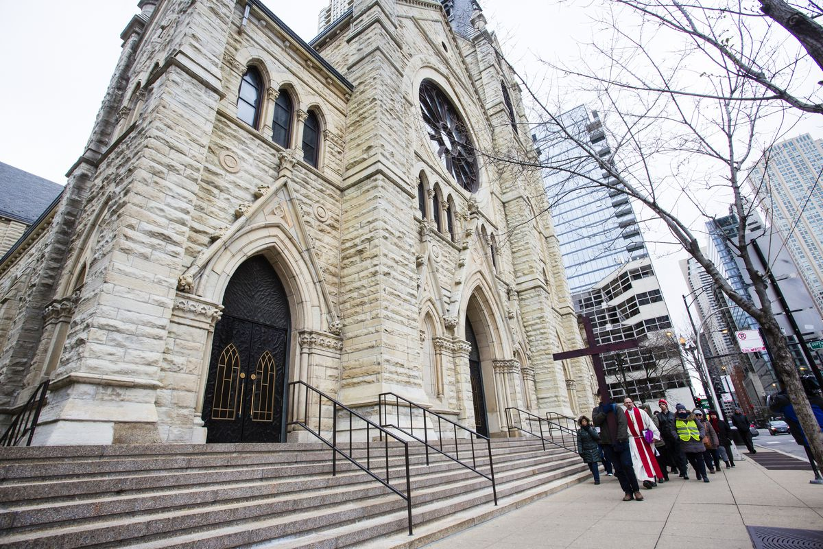 Holy Name Cathedral in Chicago on Good Friday,  April 19, 2019.