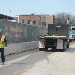 10:46 a.m. Truck backing on Waveland as traffic backs up -