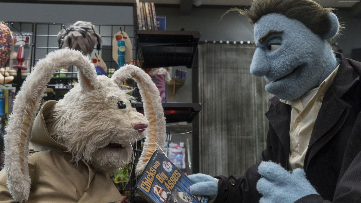 The rabbit and the P.I. in a puppet porn shop.