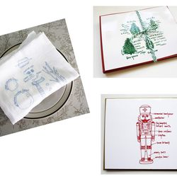 """Holiday diagram tea towels and stationery from <a href=""""http://shop.girlscantell.com/category/for-the-holidays"""">Girls Can Tell</a>."""