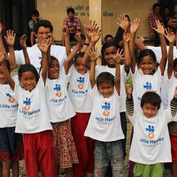 Children enjoying their first opportunity to receive health care at the Sunshine Heroes health clinic in Nepal.