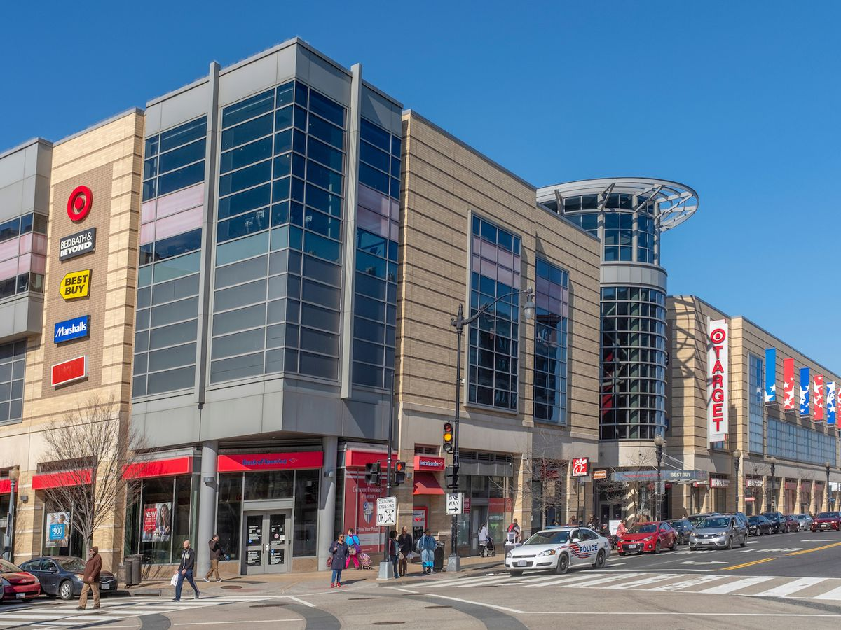 An urban shopping center that includes a Target and a Best Buy.