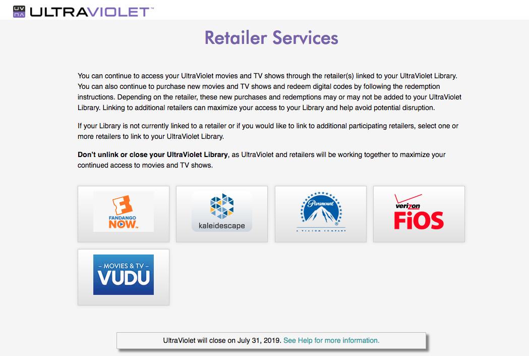 Ultraviolet Retailers