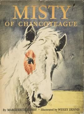 Misty of Chincoteague's cover, showing a foal with a white face and a brown spot over her eye.