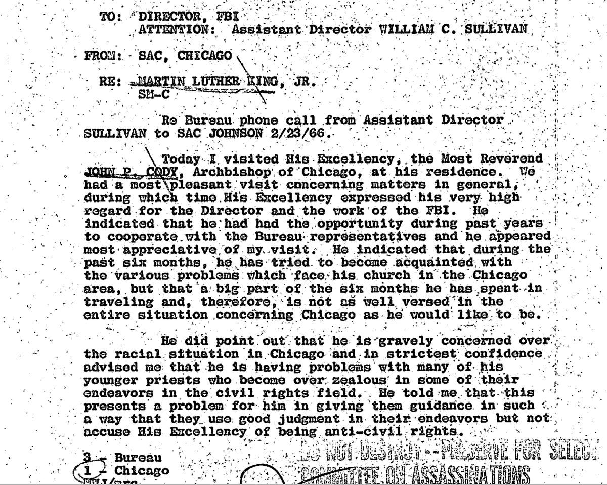 An internal FBI memo on Cardinal John Cody during the civil rights era, when he was Chicago's Catholic archbishop.