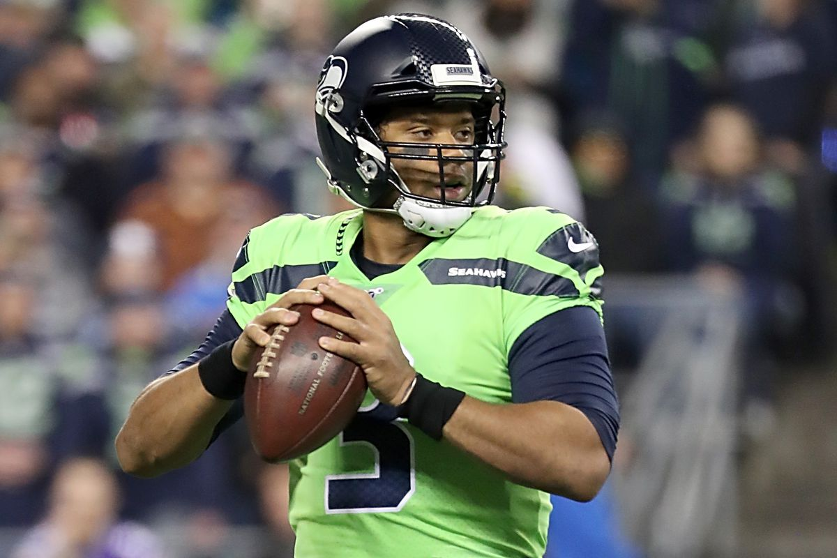 Quarterback Russell Wilson of the Seattle Seahawks drops back to pass against the Minnesota Vikings at CenturyLink Field on December 02, 2019 in Seattle, Washington.