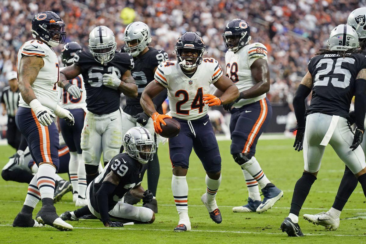 Bears rookie running back Khalil Herbert (24) had 18 carries for 75 yards (4.2 avg.) against the Raiders on Sunday at Allegiant Stadium in Las Vegas.