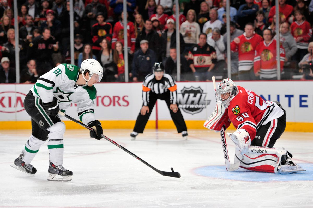 Roussel scores on a penalty shot and taunts the crowd in Chicago. Fond memories.