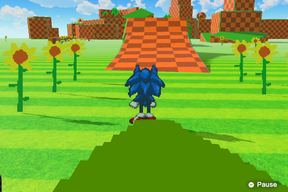 it's a flat pixelated sonic in a 3D world. it has the characteristic checkered pattern of the original green hill zone