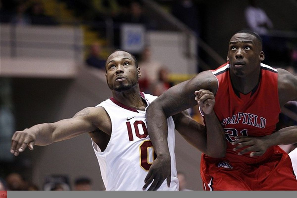 Fairfield's Rakim Sanders (right) can rebound with the best of them. Too bad he is 6 foot, 5 inches tall.