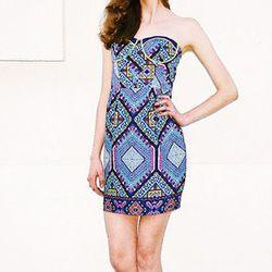 "<strong>Aryn K.</strong> Strapless Printed Dress, <a href=""http://www.miramirasf.com/"">$92</a> at Mira Mira"