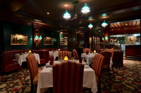 The interior of a steakhouse