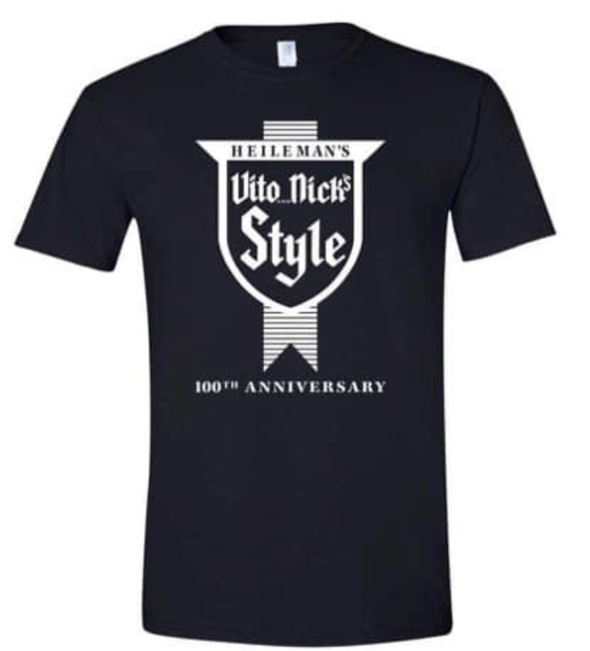 """A navy blue t-shirt that reads """"Vito & Nick's Style, 100th Anniversary"""""""