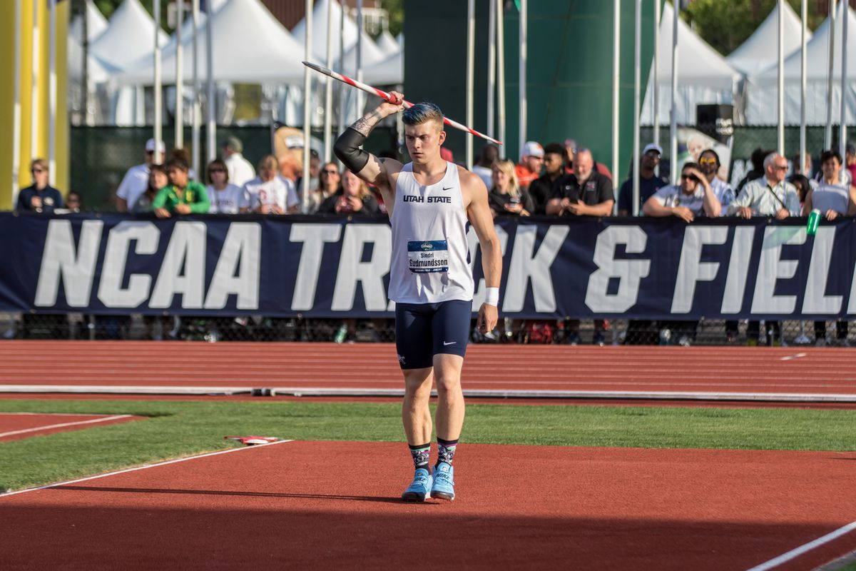 Utah State's Sindri Gudmundsson sets to throw. He placed 10th in his group and 20th overall with a throw of 74.91 meters in the qualifying round of the javelin at the 2018 European Athletics Championship on Wednesday in Berlin, Germany.