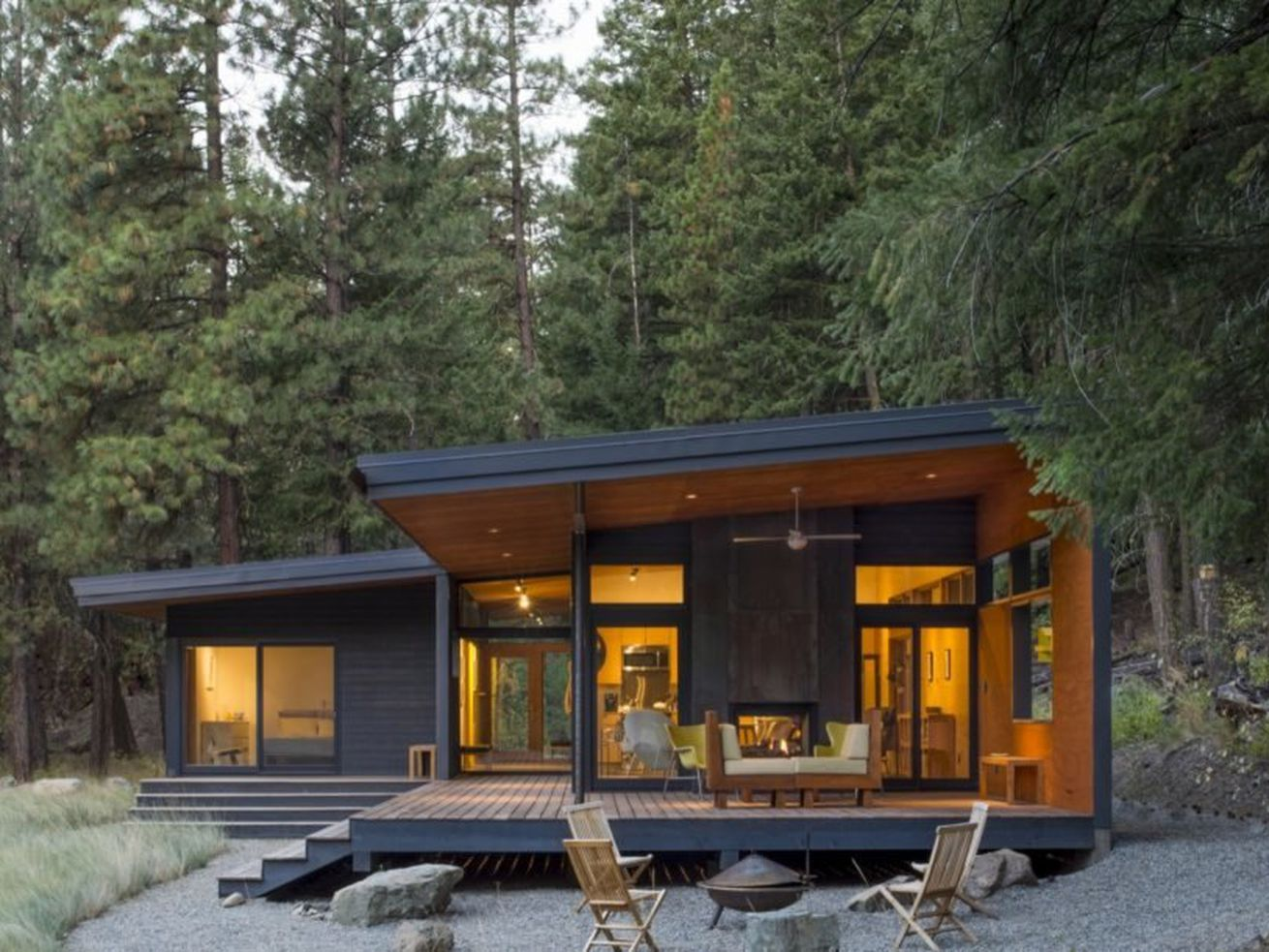 This midcentury modern-inspired cabin offers a cozy getaway