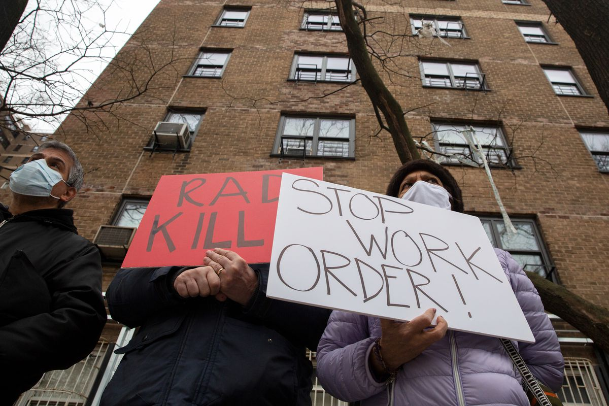 South Williamsburg NYCHA residents protest work being done on the building through new private management, Jan. 11, 2020.