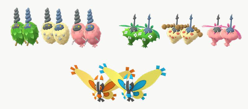 Shiny Burmy, Wormadam, and Mothim all lined up together