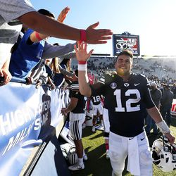Brigham Young Cougars quarterback Tanner Mangum greets fans following NCAA football against the San Jose State Spartans in Provo on Saturday, Oct. 28, 2017.