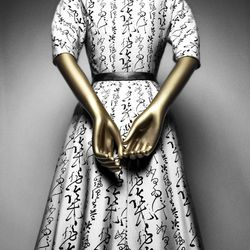 Christian Dior silk and leather cocktail dress, 1951