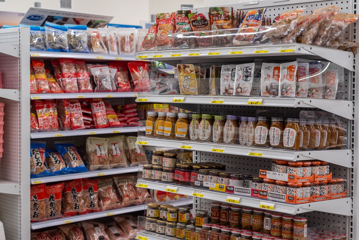 Japanese food products on grocery shelves at Mitsuwa