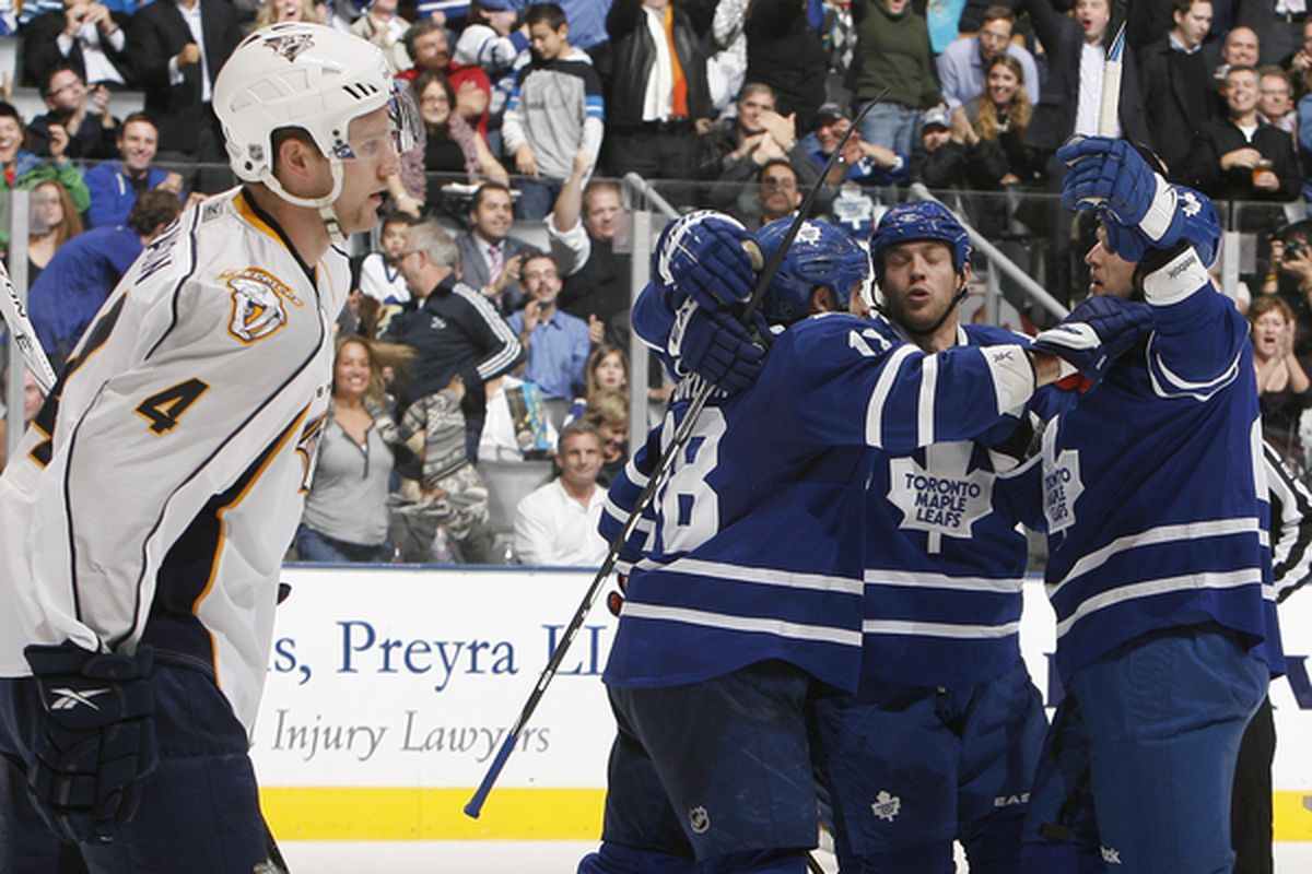 TORONTO - NOVEMBER 16:  The Toronto Maple Leafs celebrate a 2nd period goal against the Nashville Predators during game action at the Air Canada Centre November 16 2010 in Toronto Ontario Canada. (Photo by Abelimages/Getty Images)